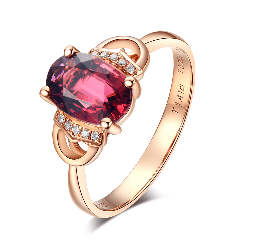Shengdebao 18k rose gold natural diamond tourmaline womens ring Tourmaline Ring natural tourmaline