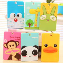 South Korean cartoon stereo bank bus card sets Students with cute keychains card clip key ring transportation card sets