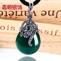 Ka shun 925 silver thai silver inlaid green agate Necklace jade Medulla pendant female water droplets fall fashion Day retro