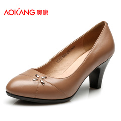 Aokang shoes spring of Korean fashion Joker round caps toe work shoes leather high heel comfortable women's shoes