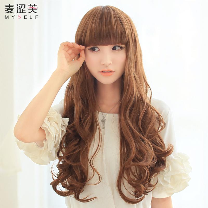 Email дамы парик длинные вьющиеся волосы пушистые мода груша голова, реальное лицо Лю Ци парик