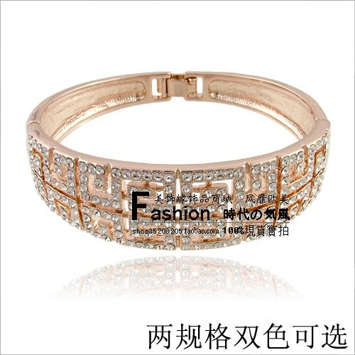 Орнамент граница красное яблоко счетчик женский полный горный хрусталь кристалл браслет ювелирных изделий золота покрытием браслет (C2)