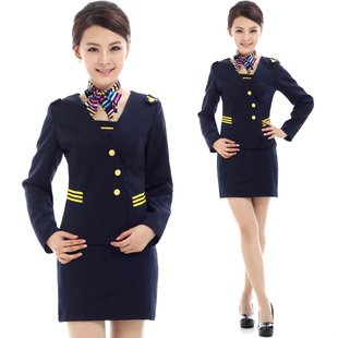 Amy Xin Si stewardess uniforms professional suite hotel uniforms restaurant waiter skirt fall and winter clothes women long sleeve