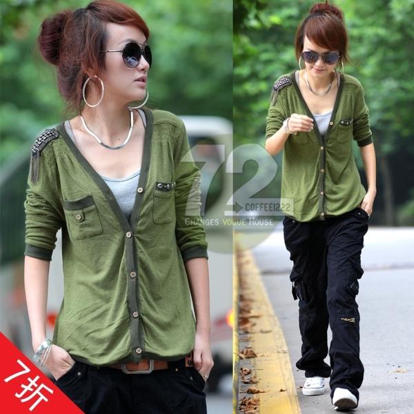 秋装新款韩版纯色肩章街头V领开衫长袖针织衫