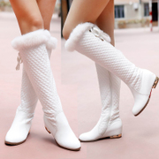 Strange love of winter clearance sale leather Biker boots flat high boots rabbit fur boots girls in white boots