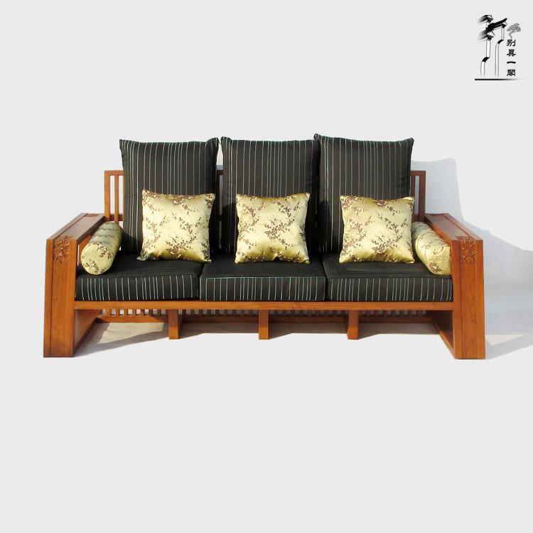 客厅小户型新中式实木沙发三人位原木布艺拆洗老榆木雕花三人沙发
