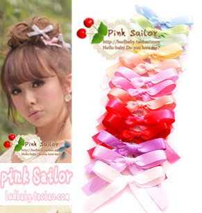 Cute little bow Xiaoyi sister amo soft ice cream with paragraph color ribbon hair accessories hairpin