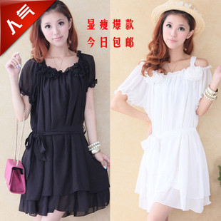 Large size women fat mm summer fat people love ultra thin big yards to increase short sleeved chiffon dress