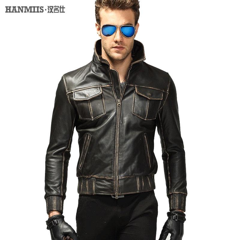 M65 заголовок слой кожи кожа кожа мотоцикла куртки мужчины модный человек Хан Сю кожа кожаные куртки мужская куртка