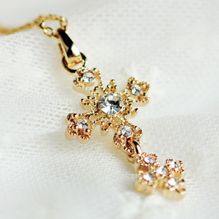 Choke a small chilli retro diamond cross necklace female short paragraph clavicle chain Korean jewelry accessories F5404