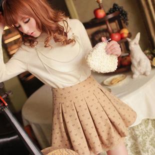 韩版秋冬装复古高腰半身裙蓬蓬裙蕾丝边公主蝴蝶结毛呢裙褶皱短裙
