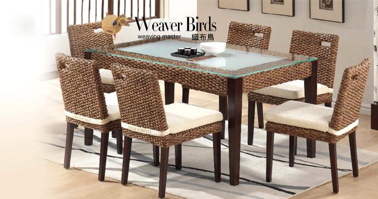 Ткачество птица виноградная лоза искусство мебель гостиная магазин ротанг твердая деревянная обедая столы и стулья 6 человеческий комплект рис зал обеденный стол стул сочетание 51