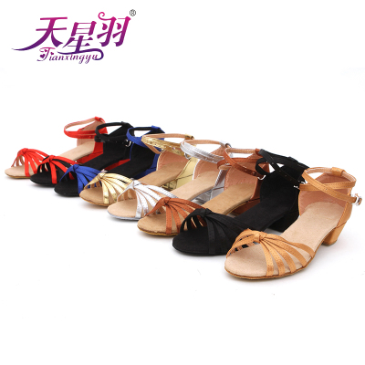 Star ferry feather quality goods on sale Knot WuDai children's new flat Latin dance shoes of the girls
