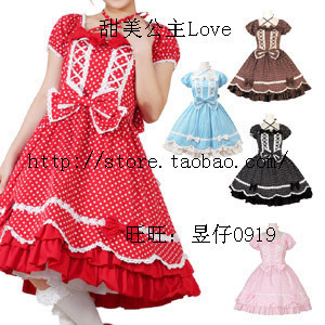 Sweet Princess amp Lolita Lolita Shuiyu wave point short sleeved dress pure cute large size can be set