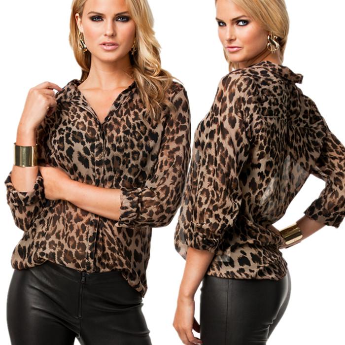 Шифоновая блуза леопардовой расцветки