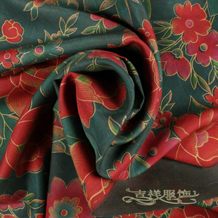 Shunde copy buttercup 100 silk fabrics Silk Garment Dai blue red flowers buttercup silk fabrics 9259