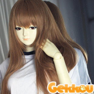 Gekkou deep coffee brown curls tea 100CM high temperature wire COS Wigs / wig accessories Suiseiseki river