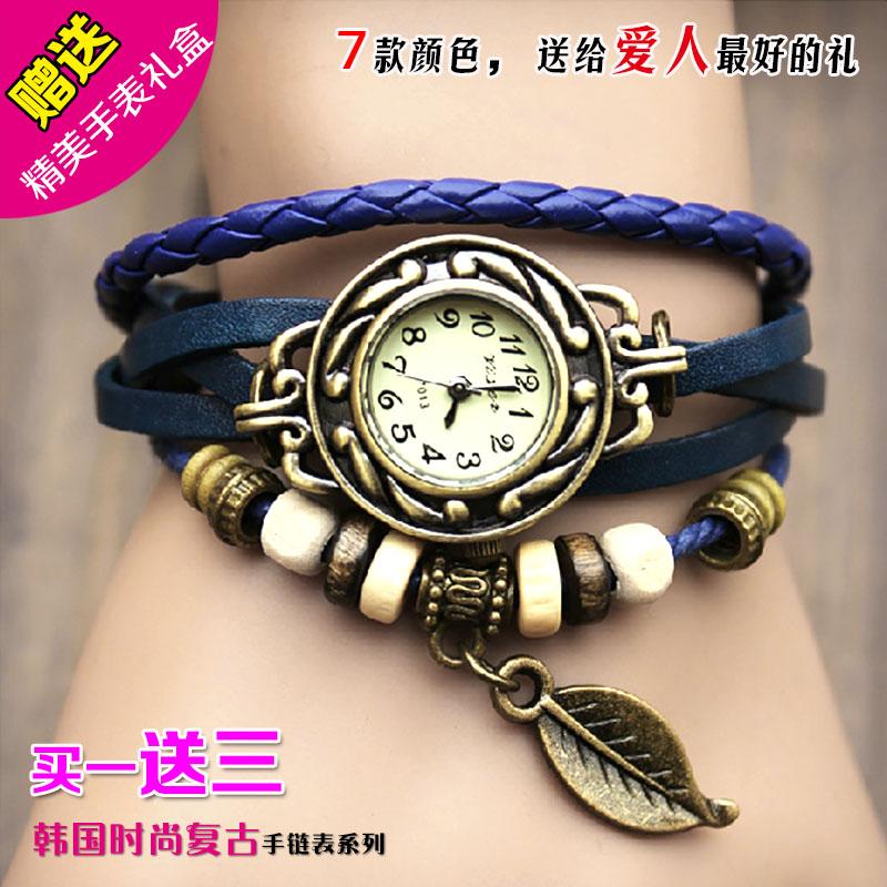 Корейская пара панк кожи день защиты детей подарок женской форме студентов многослойной обмотки старинные ювелирные изделия браслет часы специальные