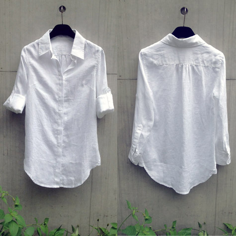 Spring shirt womens simple and versatile linen medium length white shirt long sleeve European and American casual inch shirt loose, large and thin