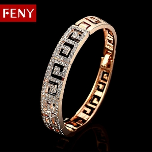 FENY round diamond jewelry rose gold plating bracelet female Korean fashion accessories Version 2 color options