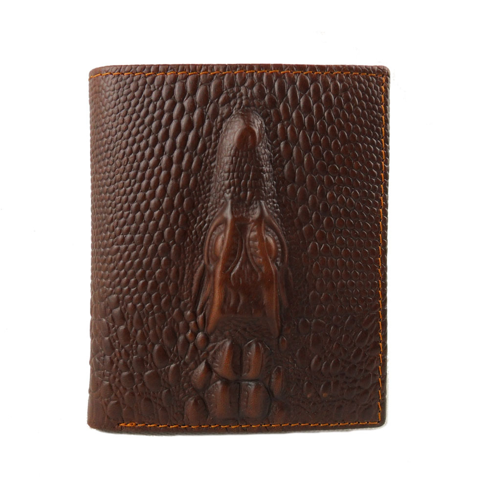 Crocodile fashion personality ultra-thin vertical style short leather mens wallet wallet note clip