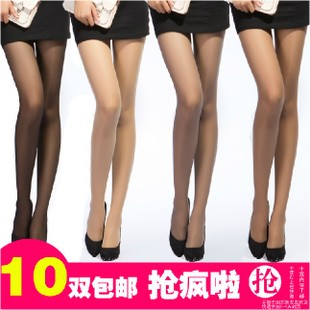 langsha summer thin transparent black flesh-colored anti-hook filament file Siamese stockings step foot nine points stockings core