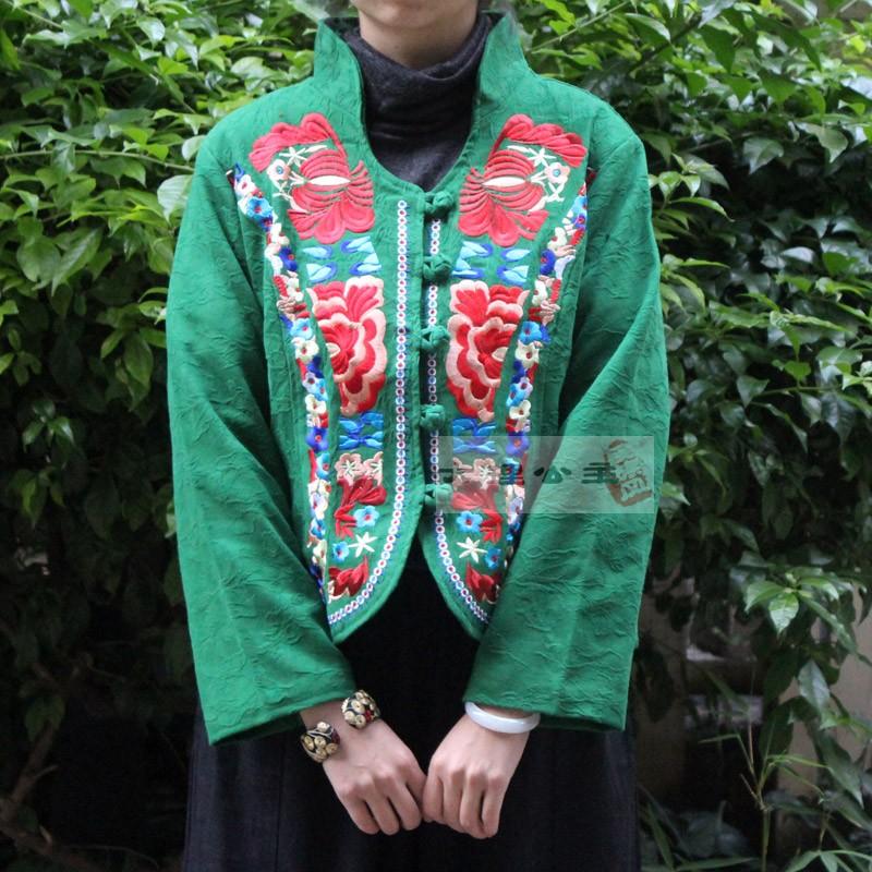 绣花小西装 民族风短外套上衣提花棉刺绣立领修身新款秋冬女装