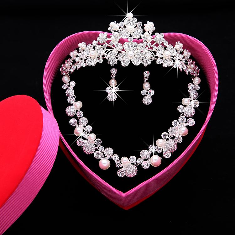 Новый новый мать свадьба императорская корона три образца горный хрусталь императорская корона из трех частей уха кольцо ожерелье корейский выйти замуж ювелирные изделия