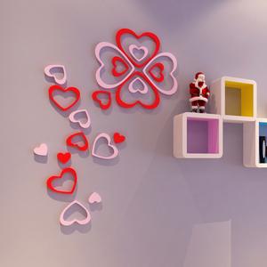 创意立体心形墙贴环保木质可移除墙饰壁饰墙壁家居饰品墙上装饰品