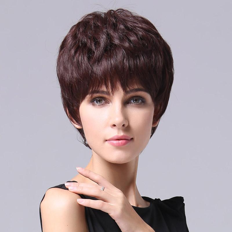 全手织真发假发女短发短卷发真人发女式型中年假头发套RM01