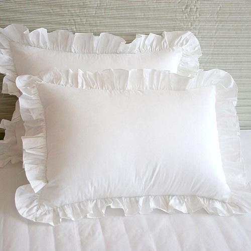 纯白蕾丝手工褶皱花边荷叶边枕套一只包邮纯棉全棉单人枕套一对装