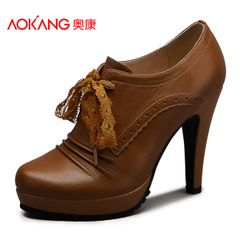 Aucom waterproof strap leather high heel women's shoes fashion career women shoes authentic bag-mail