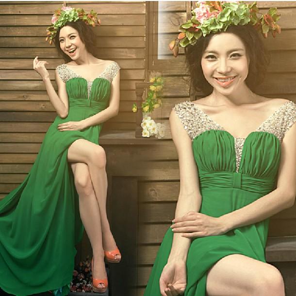 Вечерние платья 2015 новых осенью и зимой проводятся ежегодные banquet тост одежды Корея самостоятельной длинные невесты платье женщин