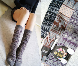 Ribenyuandan vivi retro snowflake deer piles of wool sock leg tube socks autumn and winter forest department