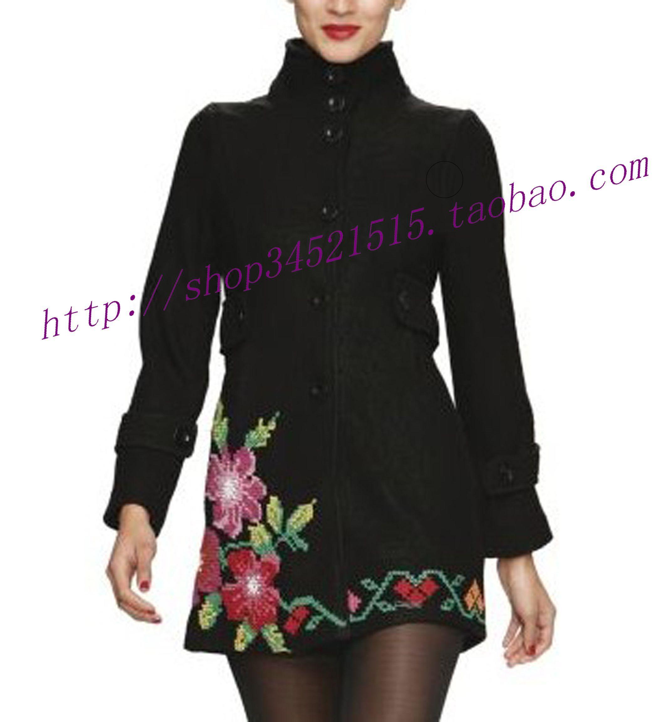 Пряжка 2012 Испания desigual цветы вышитые пожал плечами пальто букле ткани женщин платье