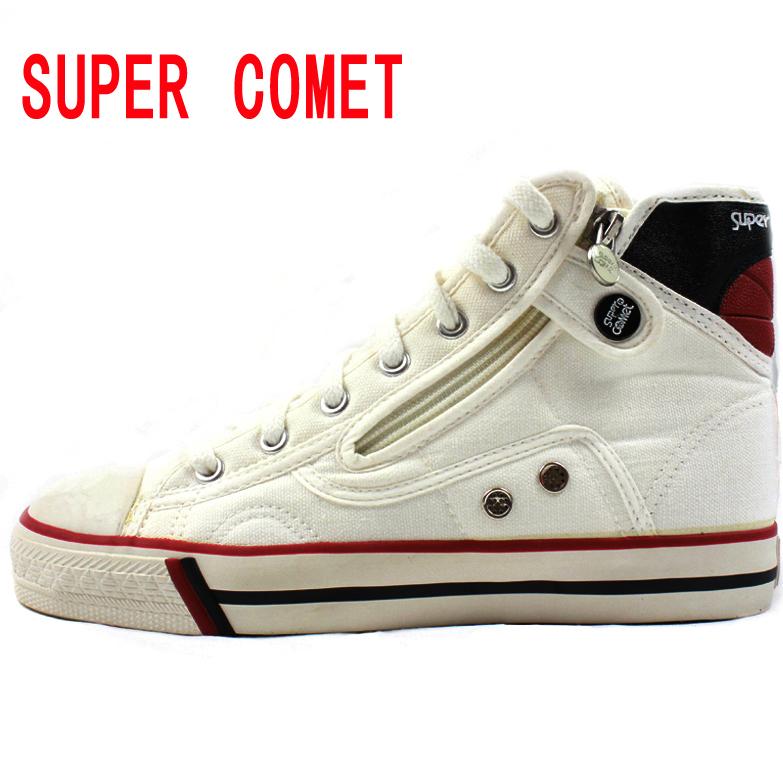 韩国super comet帆布鞋~高帮帆布鞋 侧拉链速脱男鞋女鞋~情侣款限时秒杀