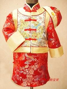 恰恰兔正品新款儿童唐装男童唐装冬马褂地主袍阿哥服儿童周岁礼服