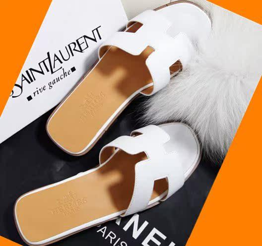 Европа 2014 новый h Тапочки, мягкие кожаные сандалии летом плоское дно со словом женщин Тапочки