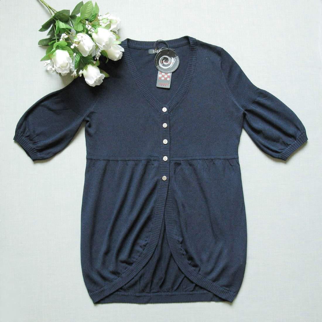 店庆85折  *塔拉*夏* 亚麻深蓝色针织衫3色入S M 两件包快  0620