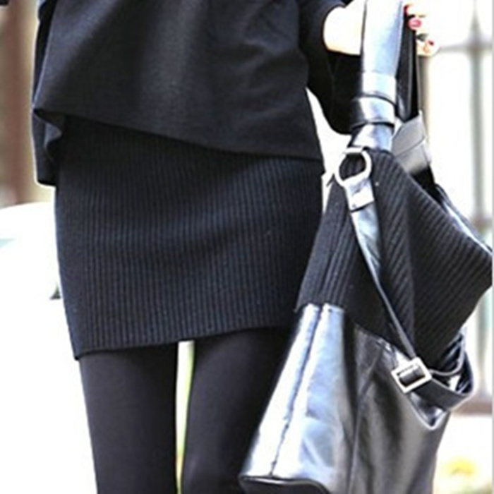 顯瘦針織高腰純色包臀裙