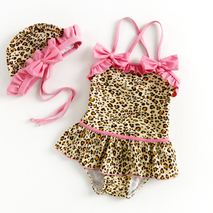 2016 Korean girls swimwear children swimwear Leopard piece swimsuit big boy baby children swim dress style