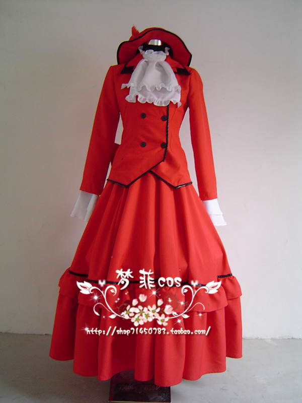 Cosplay anime costume black deacon black housekeeper red lady banquet costume cos suit womens customized