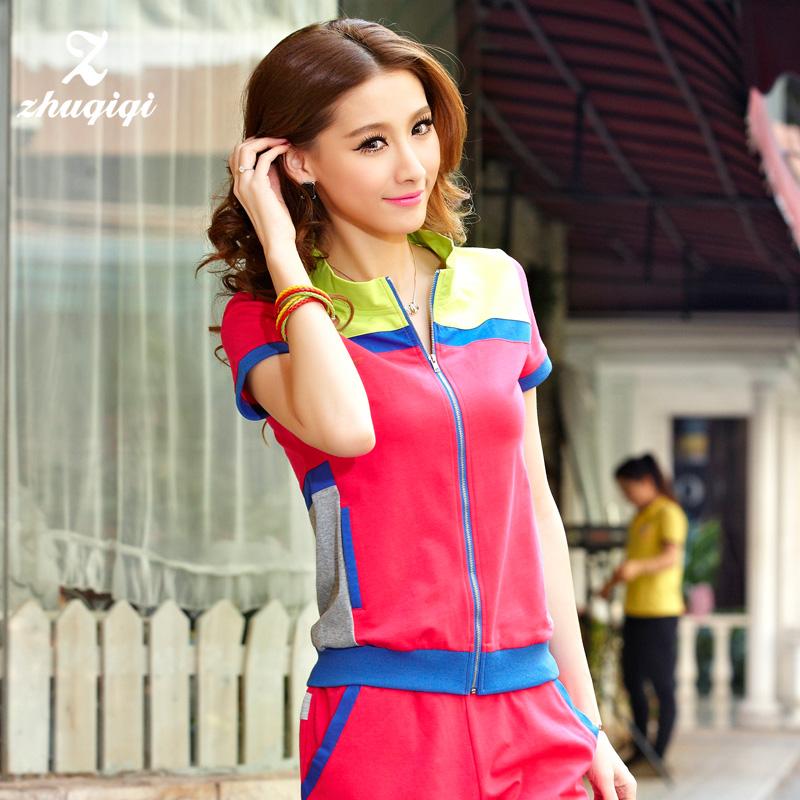 Мода цвет соответствия свитер пальто женщин куртки плюс размер летней спортивной одежды Весна/лето досуг костюм женщин в Европе и Америке