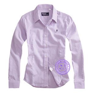 2015超值精品 秋季女士纯棉百搭长袖衬衫 OL职业装女式衬衣紫条纹