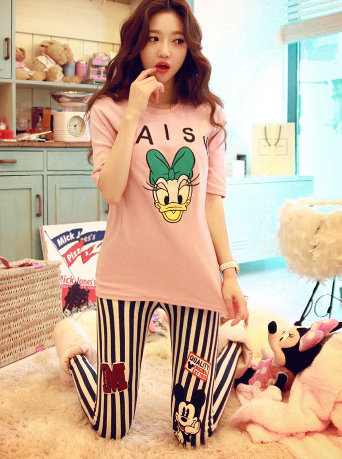 WH073 Корея покупке новых осень леггинсы брюки Микки футболки тонкий короткие девушки пижамы набор 2015