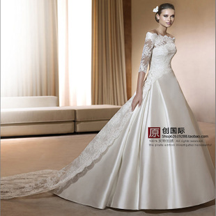 Korean princess retro word shoulder satin wedding dress 2014 new long sleeved lace trailing wedding