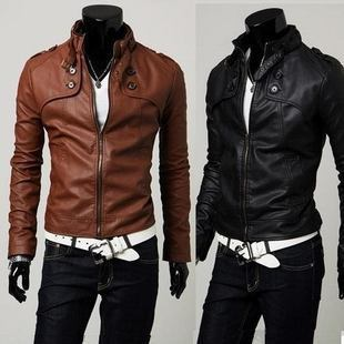 2011 Korean version of the classic four button short paragraph Slim leather standing collar motorcycle leather 1672