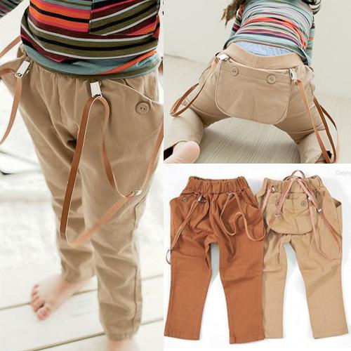 Весной Детская одежда Брюки корейских девочек хлопка младенца мальчиков нагрудник брюки брюки C/KZ78