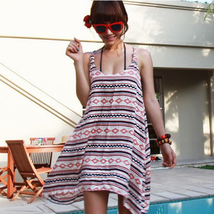 Korean version of sweet summer sea beach clothes lovers bikini blouse skirt dress vest skirt beach dress