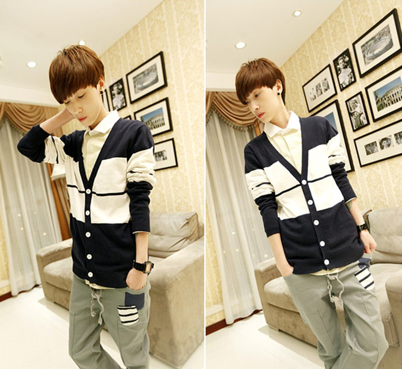 Winter fashion fashion fashion mens new knitted bottoming shirt mens color contrast stitching sweater mens knitted cardigan sweater